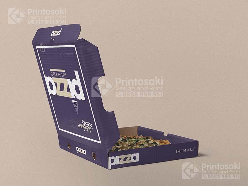 in vỏ hộp pizza