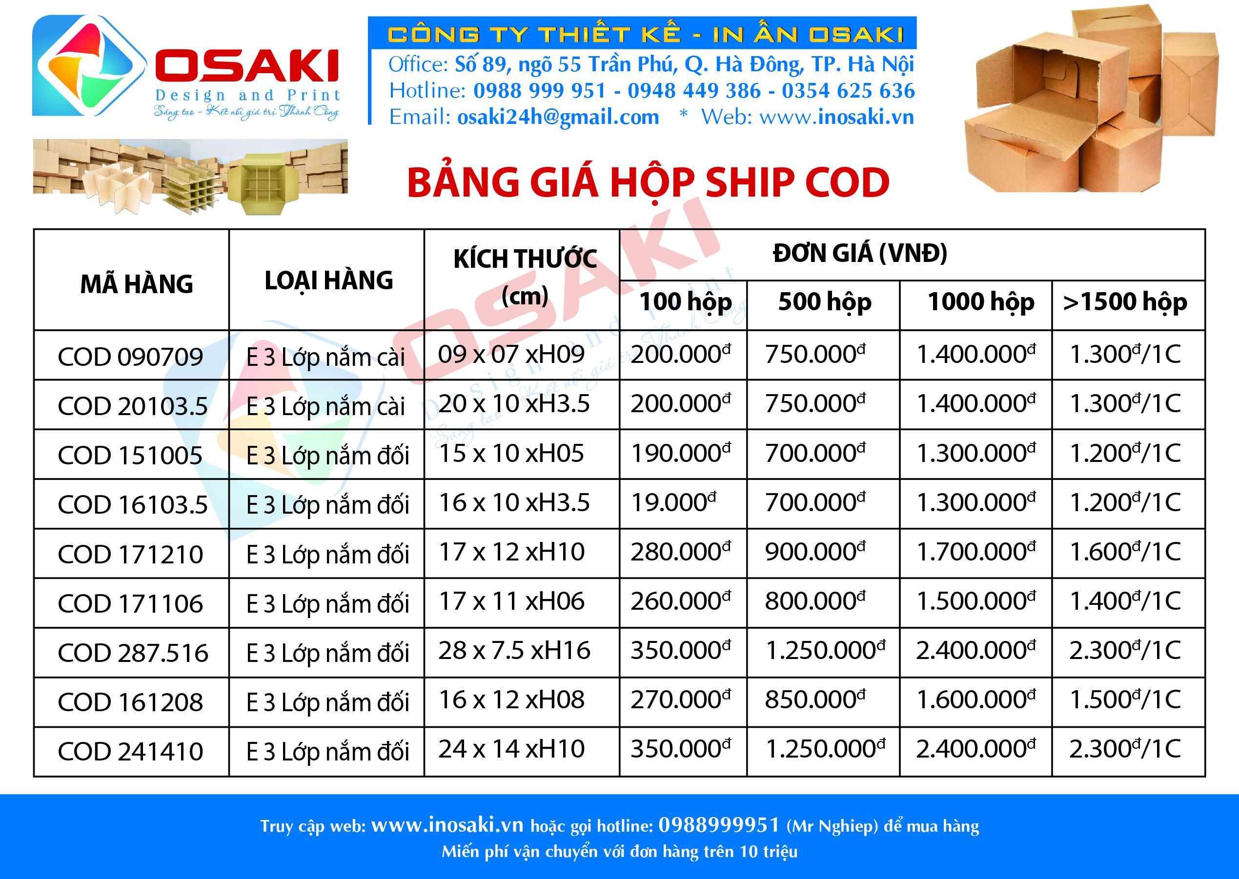 Báo Giá Hộp Ship Cod Carton Gửi Hàng Giá Rẻ Tại Hà Nội